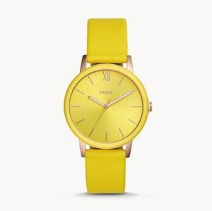 🌼 NWT Fossil yellow leather watch